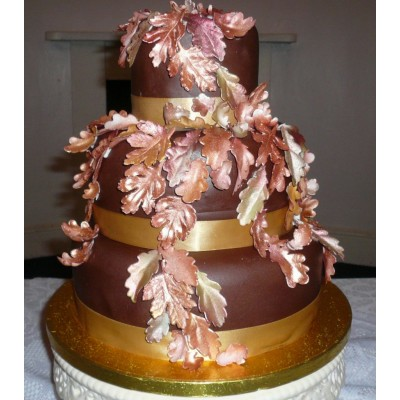 3 tier cake covered in luxury Belgian Chocolate fondant