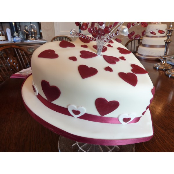 Cake Designs Heart Shaped : Heart shaped wedding cake with crystal topper ...