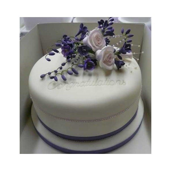 Congratulations cake with Blue flowers and Trim ...