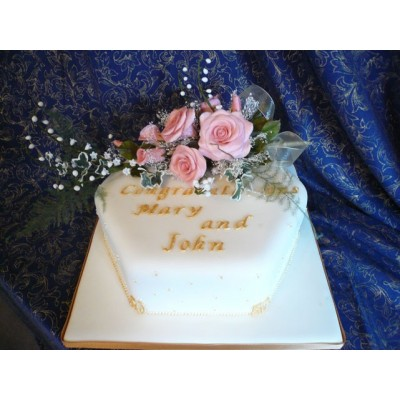 Congratulations Cake with Names and Pink Flowers