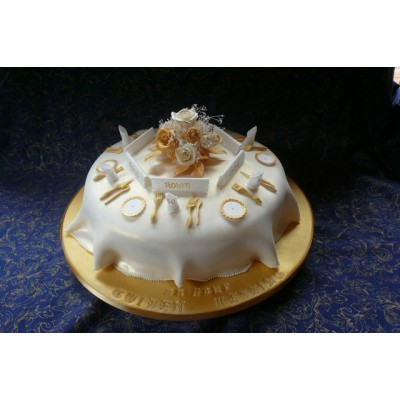 Dinner Service Scene Cake with Gold and White Colour Scheme