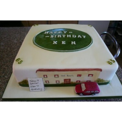 Pub Scene Green Badge with Name Birthday Cake